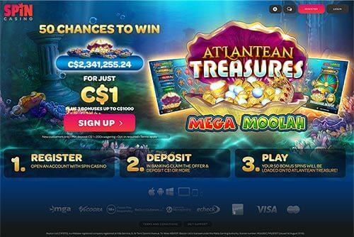 Spin Casino Bonus screen